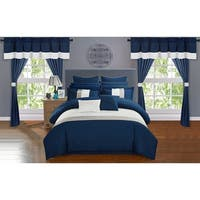 Chic Home Arisa Navy Color Block 24 Piece Room in a Bag- Sheet Set and Window Curtain Included