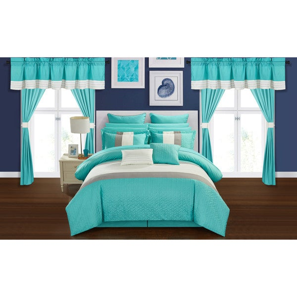 Chic Home Arisa Turquoise Color Block 24 Piece Room in a Bag- Sheet Set and Window Curtain Included