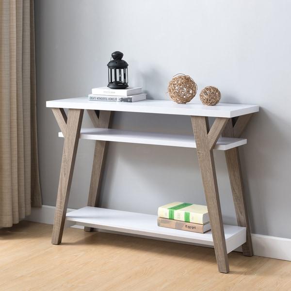 Furniture of America Shenera Contemporary White/Distressed Oak Open Console Table