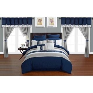 Chic Home Rinat Navy Color Block 24 Piece Room in a Bag - Sheet Set and Window Curtain Included