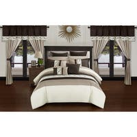 Chic Home Rinat Beige Color Block 24 Piece Room in a Bag - Sheet Set and Window Curtain Included