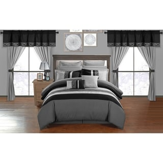 Chic Home Rinat Grey Color Block   24 Piece Room in a Bag - Sheet Set and Window Curtain Included