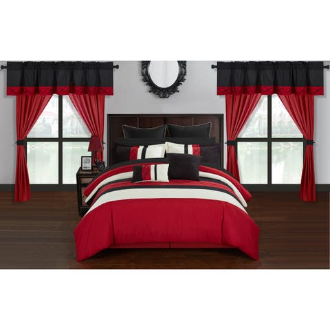 Chic Home Rinat Red Color Block 24 Piece Room in a Bag - Sheet Set and Window Curtain Included