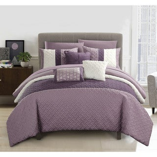 Chic Home Arza 10 Piece Plum Color Block Quilted Comforter Set with Sheets