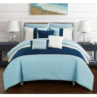 Chic Home Arza 10 Piece Blue Color Block Quilted Comforter Set with Sheets