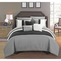 Chic Home Arza 10 Piece Grey Color Block Quilted Comforter Set