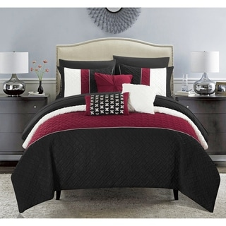 Chic Home Arza 10 Piece Black Color Block Quilted Comforter Set with Sheets