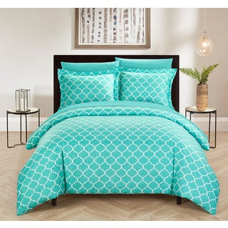 Chic Home Finlay 9 Piece Reversible Turquoise Diamond Fretwork Print Duvet Cover and Sheet Set
