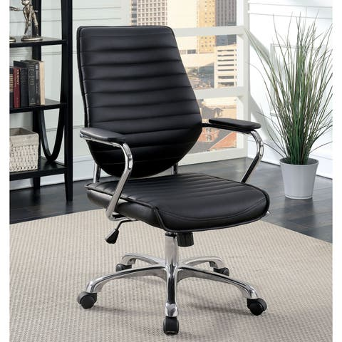 Furniture of America Jessican Contemporary Adjustable Ribbed Office Chair