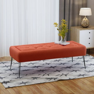 Zyler Rectangle Tufted Fabric Ottoman Bench by Christopher Knight Home