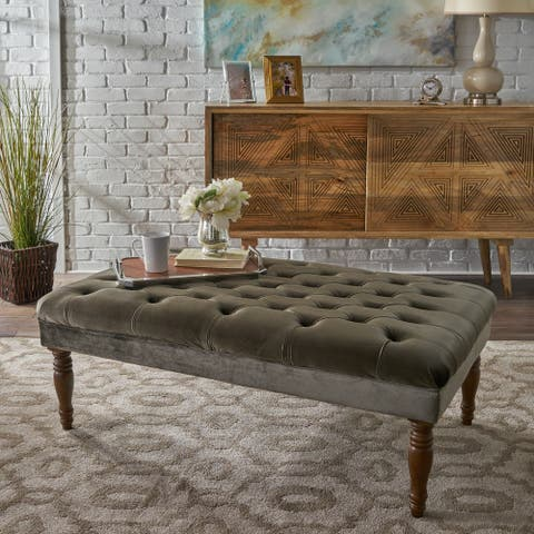 Calendra Rectangle Tufted Velvet Ottoman Bench by Christopher Knight Home