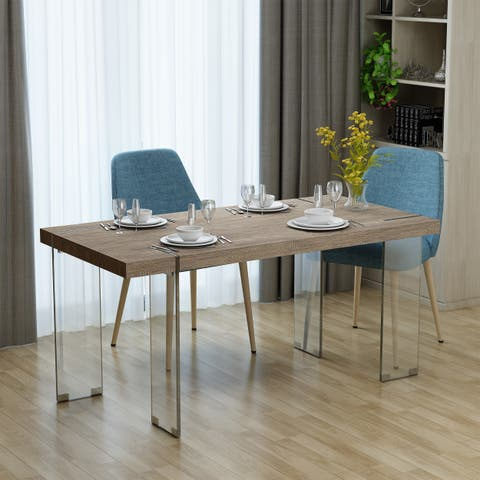 Migdalia Modern Rectangle Wood Tempered Glass Dining Table by Christopher Knight Home - Brown