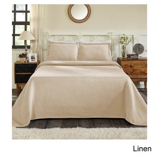 Superior Jacquard Matelasse Basket Cotton Bedspread Set (Option: Full - LINEN - 3 Piece)