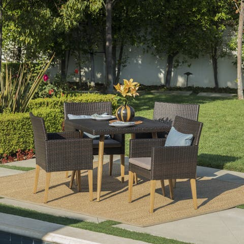 Dryden Outdoor 5-Piece Square Wicker Wood Dining Set with Cushions & Umbrella Hole by Christopher Knight Home