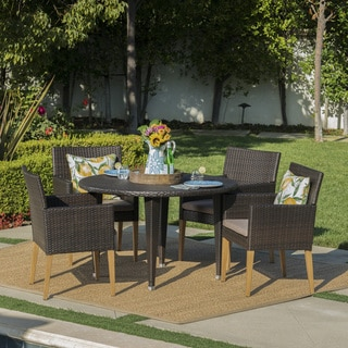 Carlton Outdoor 5-Piece Round Wicker Wood Dining Set with Cushions by Christopher Knight Home