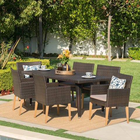 Carlton Outdoor 7-Piece Rectangle Wicker Wood Dining Set with Cushions by Christopher Knight Home