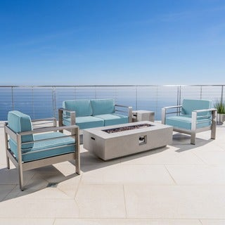 Cape Coral Outdoor Aluminum 5-piece Fire Pit Chat Set with Cushion by Christopher Knight Home