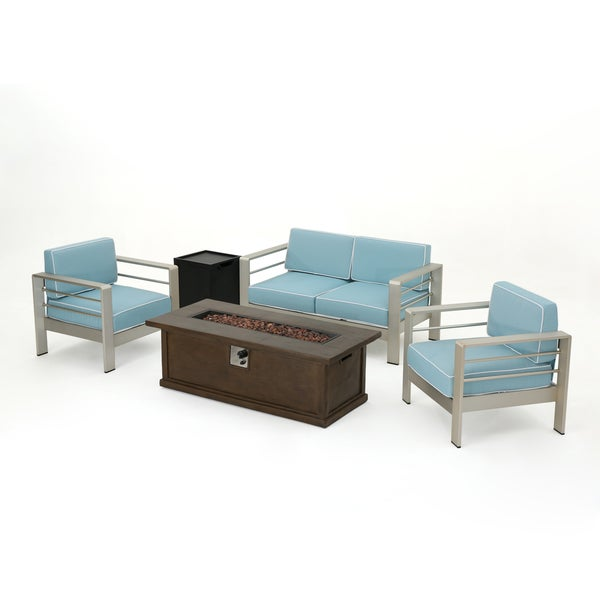 Cape Coral Outdoor Aluminum 5-piece Fire Pit Chat Set with Cushion ...