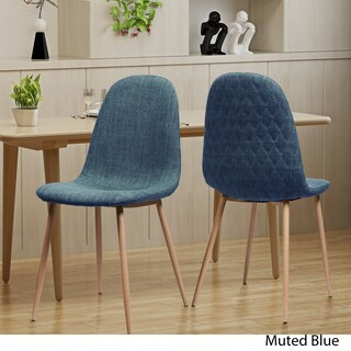 Caden Mid Century Fabric Dining Chair (Set of 2) by Christopher Knight Home (Option: Muted Blue)