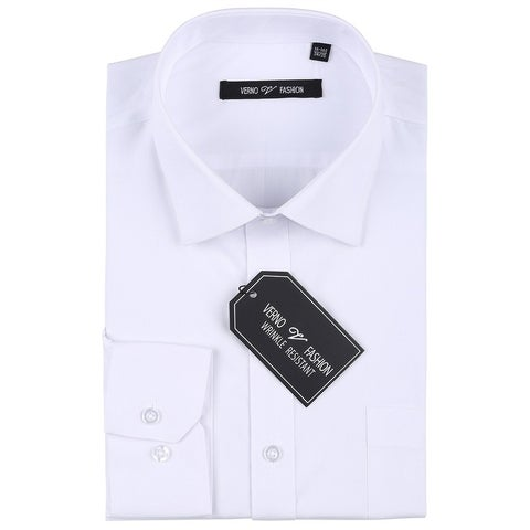 Verno Men's Wrinkle Resistant Trim Fit Long Sleeve Dress Shirt