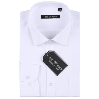 Verno Men's Wrinkle Resistant Trim Fit Long Sleeve Dress Shirt