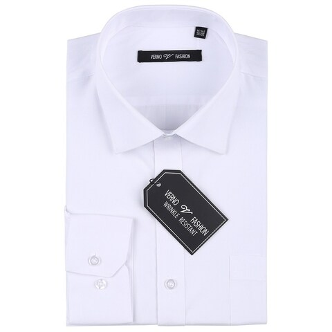 Verno Men's Wrinkle Resistant Classic Fit Long Sleeve Dress Shirt
