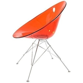 Polycarbonate Round Eiffel Dining Chair - Red (Set of 2)