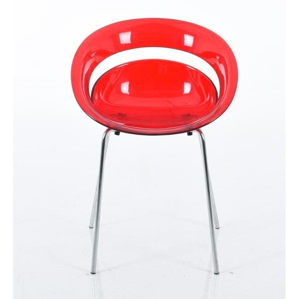 Fine Polycarbonate Round Dining Chair With Chrome Legs Red Set Of 4 Uwap Interior Chair Design Uwaporg