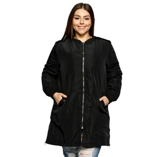 Xehar Womens Plus Size Casual Long Zipper Detail Winter Jacket Coat