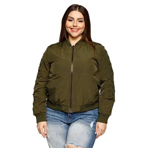 49c93cb10 Shop Xehar Womens Plus Size Grommet Lace Up Short Cropped Bomber ...