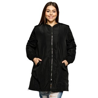 Xehar Women's Plus Size Casual Long Zipper Detail Winter Jacket Coat (Size 2XL)