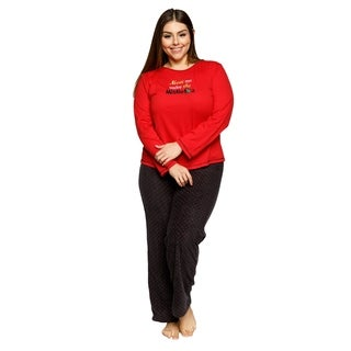 Xehar Womens Plus Size Meet Me Under the Mistletoe Pajama Pjs Set