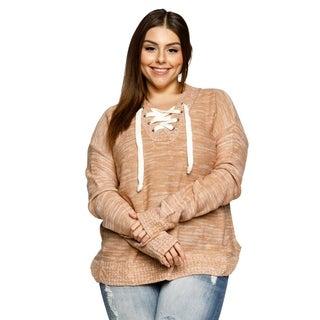 Xehar Womens Plus Size Lace Up V-Neck Drop Shoulder Pullover Sweater