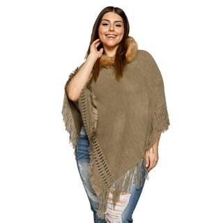 Xehar Womens Plus Size Fringe Faux Fur Trim Hoodie Poncho Sweater