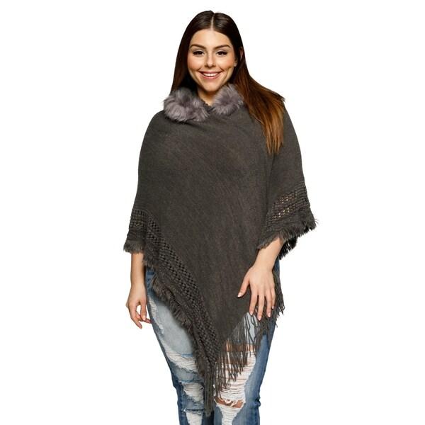8526bc7a96548 Shop Xehar Womens Plus Size Fringe Faux Fur Trim Hoodie Poncho ...