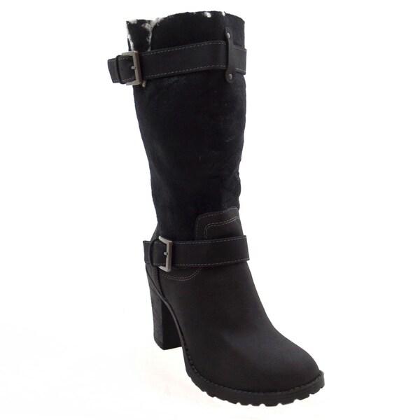 Blue Womens FECCI-B Suede Dress Mid-calf Fashion Boots