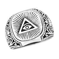 Handmade Mystical All-Seeing Eye of Providence Sterling Silver Ring (Thailand)