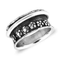 Handmade Stylish Flower Themed Spinning Band Sterling Silver Ring (Thailand)