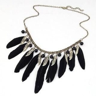 Orchid Jewelry Zinc Alloy Statement Necklace - Black