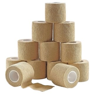 MEDca Self Adherent Cohesive Wrap Bandages 12 Rolls Skin Color