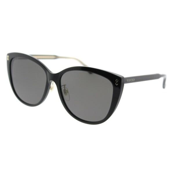d5e987b6352d Shop Gucci Cat-Eye GG 0193SK 003 Women Black Frame Grey Lens Sunglasses -  Free Shipping Today - Overstock - 18531564
