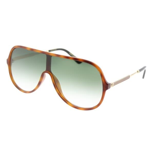 257fc71bdfc Gucci Shield GG 0199S 004 Unisex Havana Frame Green Gradient Lens Sunglasses