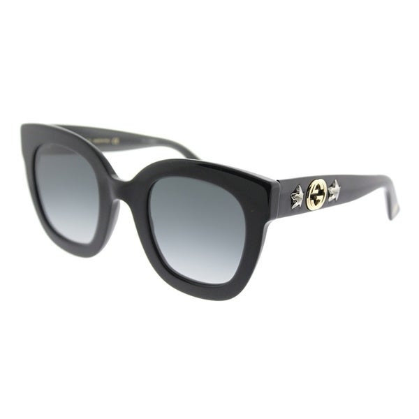 7806ec85a04 Shop Gucci Fashion GG 0208S 001 Women Black Frame Grey Gradient Lens  Sunglasses - Free Shipping Today - Overstock - 18531589