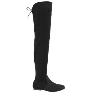 NATURE BREEZE EK68 Women's Snug Fit Drawstring Thigh High Boot