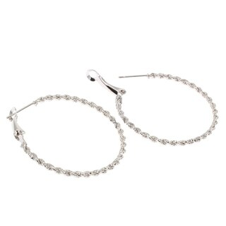Orchid Jewelry Platinum color Overlay Flower cut Hoop Earrings - White