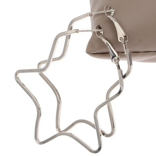 Orchid Jewelry Platinum color Overlay Star Hoop Earrings - White