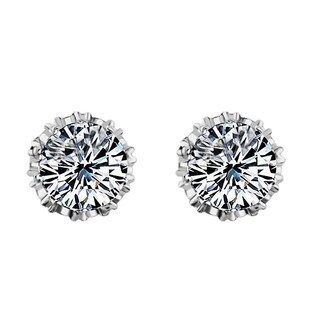 Orchid Jewelry Silver Color Overlay Fashion Stud Earrings - White