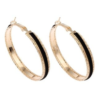 Orchid Jewelry Gold Color Overlay Fashion Hoop Earrings - YELLOW|https://ak1.ostkcdn.com/images/products/18531651/P24639865.jpg?impolicy=medium