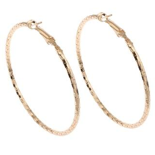 Orchid Jewelry Gold Color Overlay Hoop Earrings - YELLOW|https://ak1.ostkcdn.com/images/products/18531654/P24639881.jpg?impolicy=medium