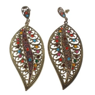 Orchid Jewelry Bronze Color Zinc Alloy Fashion Dangle Earrings - multi